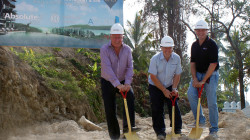 Breaking ground at Phase II of the award-winning Absolute Twin Sands Resort & Spa on Phuket. Pictured from left to right: Mike Hall, Managing Director Asia Pacific, Absolute World Group; Thomas Darby, Project Manager, A-Plan Properties; Dexter Norville, National Director, Jones Lang LaSalle Thailand.